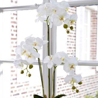 Kunstblume ORCHIDEE mit Erde H 80 cm