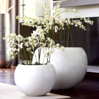 Pflanzkübel LEONY Hochglanz weiß ø 60 | 40 cm