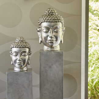 Säule H 80 | 100 cm | Buddha H 38 | 51 cm Glasfaser silber