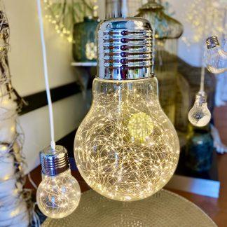 LED LAMPE GLASBIRNE zum Hängen warmweiß H 45 | 35 cm