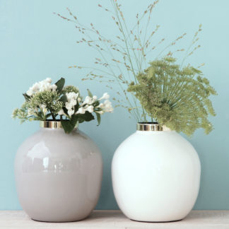 Vase SAIGON GiftCompany hellgrau | weiß H 14 cm