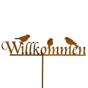Gartenstecker VOGEL WILLKOMMEN Rost H 130 cm