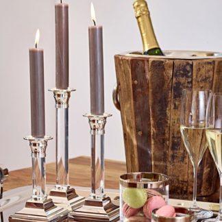 Kerzenständer VANESSA Edzard versilbert mit Acrylschaft H 15 | 23 | 27 cm