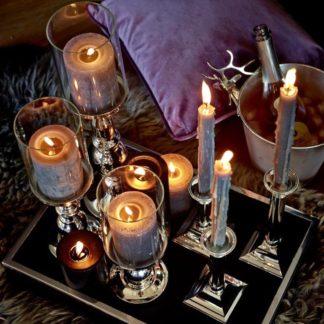 Kerzenständer BAMBO Edzard versilbert mit Glas H 27 | 34 | 44 cm