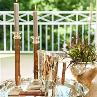 Kerzenständer HOLM Edzard vernickelt mit Bambusschaft H 30 | 36  cm