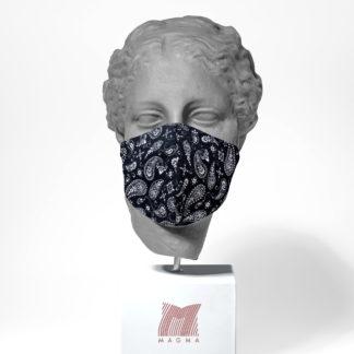 Mundschutzmaske Magma Fashion PAISLEY schwarz Größe L