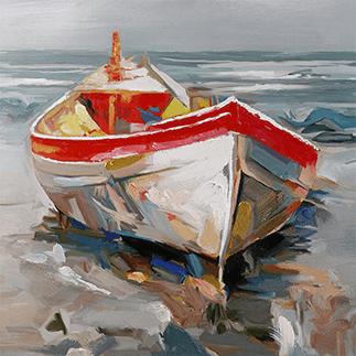 Ölgemälde eines Fischerboots