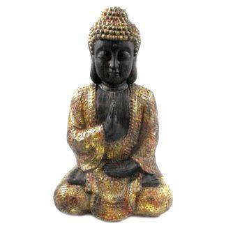 BUDDHA sitzend schwarz gold H 42 cm