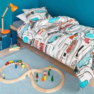 Kinderbettwäsche 135x200 cm RAILWAYS multi Beddinghouse Kids