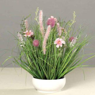 Kunstblume SEIDE WIESENBLUME in Schale pink H 40 cm