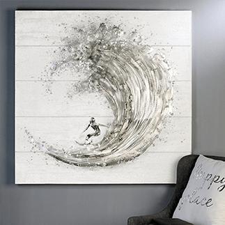 Wandgemälde eines Surfers in der Pipe