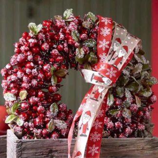 Adventstürkranz | Türkranz Weihnachten BEERENKRANZ rot beeist ø 35 cm