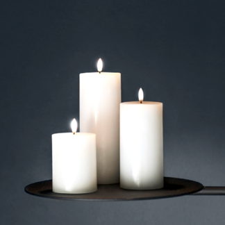 LED Kerze PILLAR CANDLE Piffany  Ivory H 12,9 |18,0 | 23,1 cm