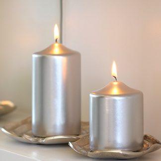 Kerze 2er Set STUMPENKERZE rosa metallic 15 x 8 cm