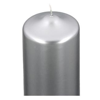 Kerze 2er Set STUMPENKERZE silber metallic 15 x 8 cm