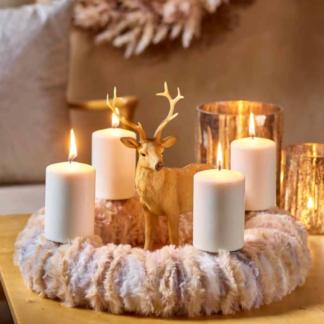 Kerze 4er Set PURE Naturwachs warmweiß 13 x 7 | 13 x 6 cm