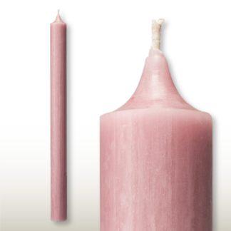 Kerzen Set RUSTIC Stabkerzen rosé 35 x 2,8 | 25 x 2,2 cm