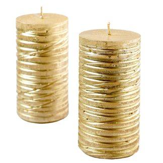 Kerze 4er Set RUSTIC STUMPE ALBA creamgold 11 x 6 cm