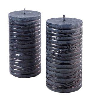 Kerze 4er Set RUSTIC STUMPE ALBA schwarz 11 x 6 cm