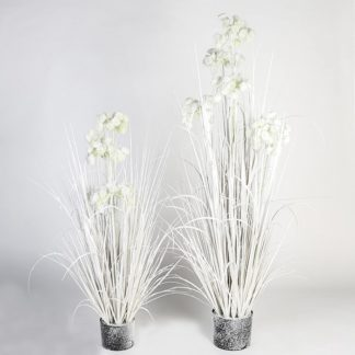 Kunstpflanze ALLIUM mit Blüten beschneit H 100 cm