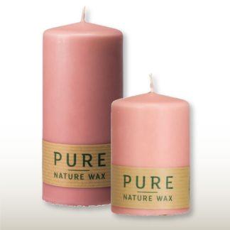 Kerze 4er Set PURE Naturwachs rosé 13 x 7 | 13 x 6 cm