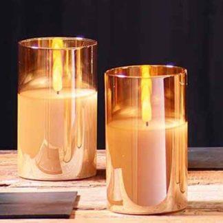 LED Kerze im Glas mit Timer gold 7x10 | 7x12 | 7x15 cm