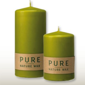 Kerze 4er Set PURE Naturwachs olive 13 x 7 | 13 x 6 cm