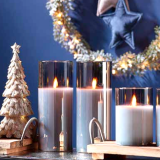 LED Kerze im Glas mit Timer grau 7x10 | 7x12 | 7x15 cm