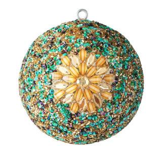 Weihnachtskugel 2er OPIUM GiftCompany Blumenmuster, goldene Steine, bunt ø 10 cm