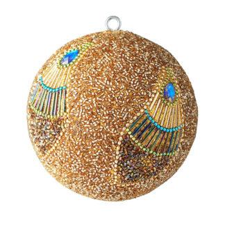 Weihnachtskugel 2er Set OPIUM GiftCompany Pfauenmuster, Perlen, blaue Steine gold ø 10 cm