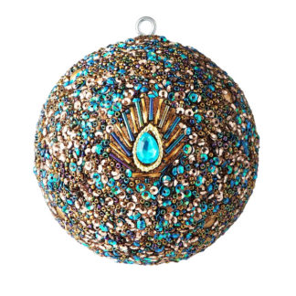 Weihnachtskugel 2er Set OPIUM GiftCompany Pfauenmuster, Perlen, Pailletten bunt ø 10 cm