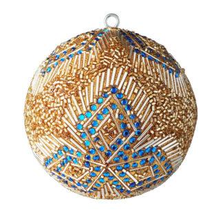 Weihnachtskugel 2er Set OPIUM GiftCompany große Routen, Perlen, blaue Steine ø 10 cm