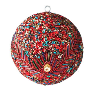 Weihnachtskugel 2er Set OPIUM GiftCompany Pfauenmuster, Pailletten, Perlen rot ø 10 cm