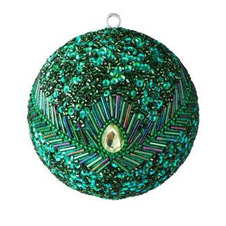 Weihnachtskugel 2er Set OPIUM GiftCompany Pfauenmuster, Pailletten, Perlen grün ø 10 cm