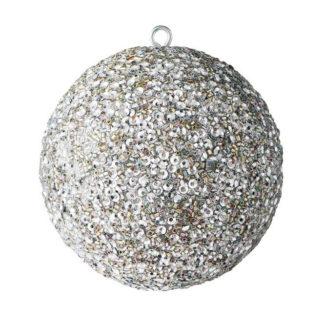 Weihnachtskugel 2er Set OPIUM GiftCompany Glitzer, Perlen, Pailletten silber ø 10 cm
