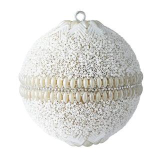 Weihnachtskugel 2er Set OPIUM GiftCompany Blumenmuster, Perlen, Steine weiß ø 10 cm