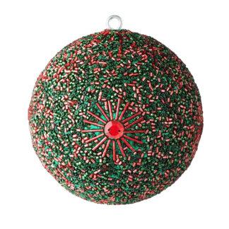 Weihnachtskugel 2er Set OPIUM GiftCompany Perlen, Steine, Glitzer rot/grün ø 10 cm