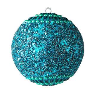 Weihnachtskugel 2er Set OPIUM GiftCompany Blumenmuster, Perlen, Steine, blau ø 10 cm