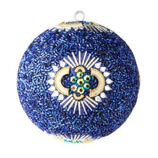 Weihnachtskugel 2er Set OPIUM GiftCompany Perlen, Steine, blau ø 10 cm