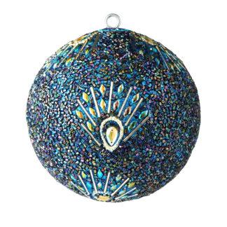 Weihnachtskugel 2er Set OPIUM GiftCompany Pfauenmuster, Pailletten, Perlen blau ø 10 cm