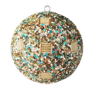 Weihnachtskugel 2er Set OPIUM GiftCompany Perlen, Pailletten gold ø 10 cm