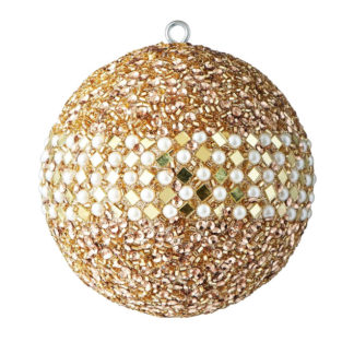 Weihnachtskugel 2er Set OPIUM GiftCompany Spiegelrouten, Perlen, Pailletten gold/weiß ø 10 cm