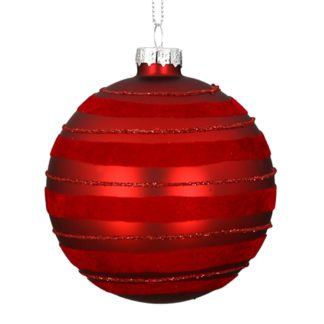 Weihnachtskugel 2er Set RED STRIPES Casablanca Samt, Glitzer ø 10 cm