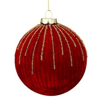 Weihnachtskugel 2er Set RED VELVET Casablanca Samt, Perlen ø 12 cm