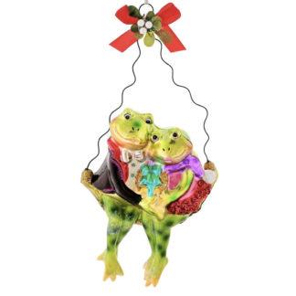 Weihnachtsbaumschmuck FROSCHPÄRCHEN AUF SCHAUKEL GiftCompany H 19 cm