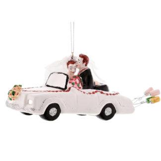 Weihnachtsbaumschmuck HOCHZEITSAUTO MIT BRAUTPAAR GiftCompany B 18 cm