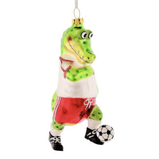 Weihnachtsbaumschmuck KROKODIL FUSSBALLSPIELER GiftCompany H 13 cm