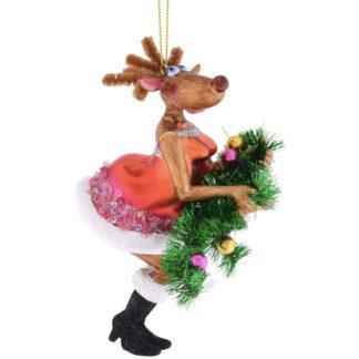 Weihnachtsbaumschmuck RENTIER MIT TANNENGIRLANDE GiftCompany H 13 cm