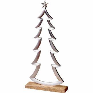 Weihnachtsdeko Alu Tannenbaum Auf Holzfuss H 50 35 Cm 324x324