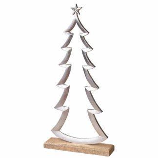 Weihnachtsdeko ALU TANNENBAUM auf Holzfuß H 50 | 35 cm